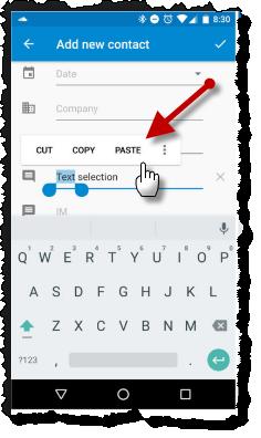 Вставка текста в Андроид