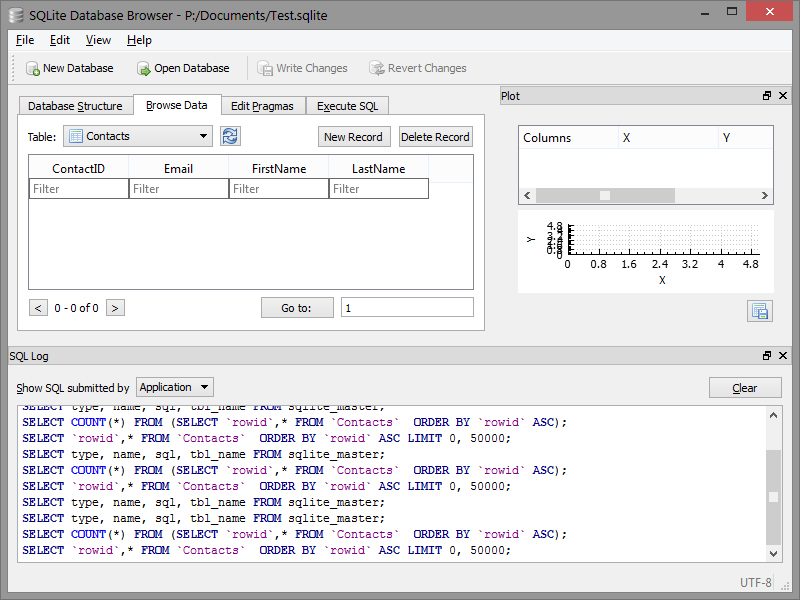 SQlite database browser
