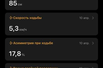 Показатели ходьбы в iOS