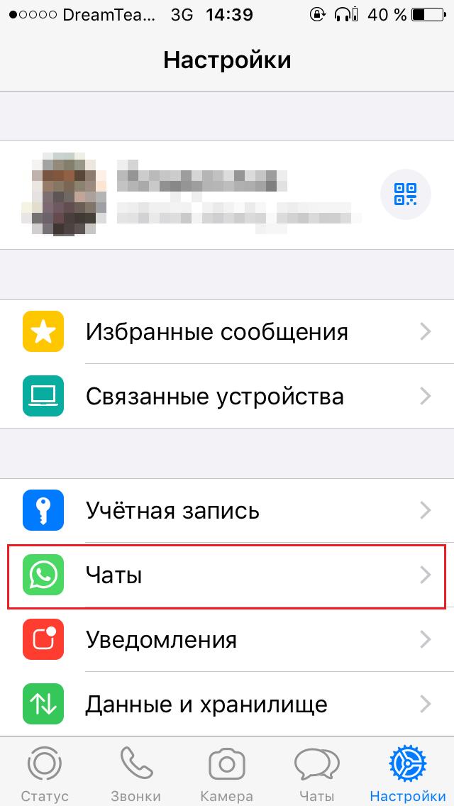 Настройки чатов iOS